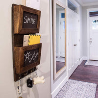 Rustic 2-Slot Mail Sorter Organizer for Wall with Chalkboard Surface