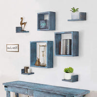 Comfify Rustic Wall Mounted Square Shaped Floating Shelves – Set of 7 - Comfify
