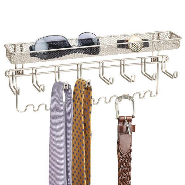 mDesign Closet Wall Mount Men's Accessory Storage Organizer Rack - Holds Belts, Neck Ties, Watches, Change, Sunglasses, Wallets - 19 Hooks and Basket - 2 Pack - Satin