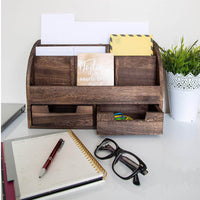 Rustic Wooden Desk Organizer and Storage for Home or Office Makeup - Comfify