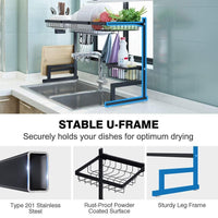 Dish Drying Rack Over Sink Stainless Steel Drainer Shelf, 37.4 Inches Width (Black)