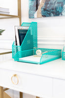 Blu Monaco Dark Teal 5 Piece Cute Desk Organizer Set - Cute Office Desk Accessories
