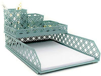Blu Monaco Teal Blue 5 Piece Cute Desk Organizer Set - Cute Office Desk Accessories
