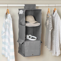 3-Shelf Hanging Closet Organizer, Grey