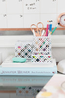 Blu Monaco White 5 Piece Cute Desk Organizer Set - Cute Office Desk Accessories