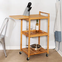38-Inch Rolling Bamboo Kitchen Cart