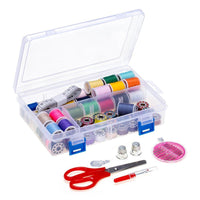HAITRAL 100 Piece Sewing Thread Kit,  Assorted Thread Spools, Metal Bobbins; Sewing Accessories, Sewing Machine Starter Kit, Polyester Material, Travel Kit, Thread Storage Organizer (HT-BSK11)