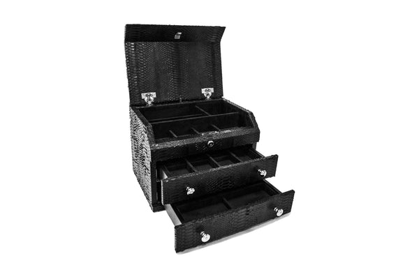 Mini Kingston Jewelry Case, Black Snakeskin