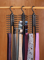 Tie & Belt Rack – (3-Pack) –  Necktie Accessories Organizer – 20 Non-Slip Hanger Hooks Each – Rotates 360 Degrees – Storage Solution For Neckties And Belts