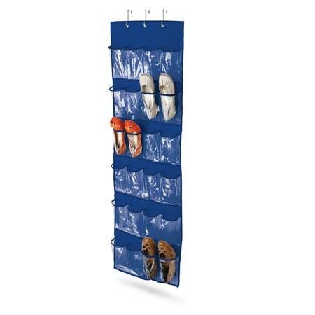 24-Pocket Over-The-Door Hanging Shoe Organizer, Blue