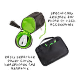 Tech and Phone Accessories Organizer Set - Drawstring & U-Zip Pouch, Black