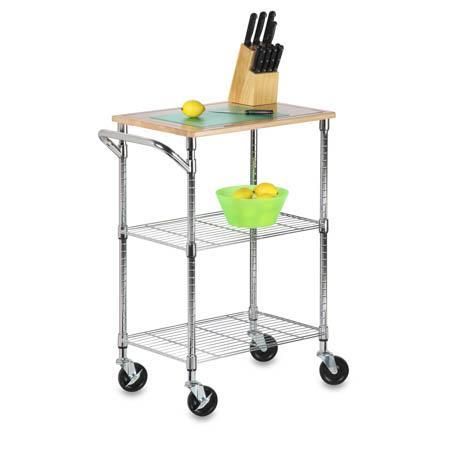 2-Shelf Chopping Block Cart, Chrome with Wood Top - honeycando.com