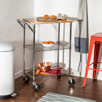 Chrome Kitchen Cart with Cutting Board, Chrome/Wood