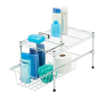 12-Inch Cabinet Organizer With Basket and Adjustable Shelf