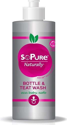 sopure bottle and teat wash in packaging