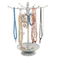 Vintage Whitewashed Metal 12 Hook Jewelry Organizer Rack Stand w/ Ring Dish Tray - MyGift Enterprise LLC