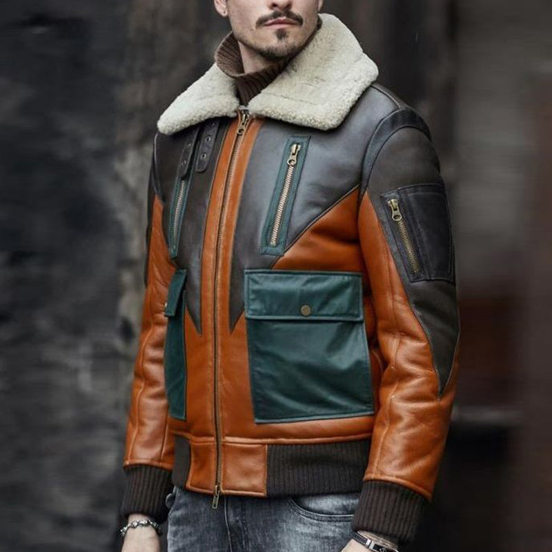 Men's Color Block Splicing Fluff Collar Leather Jacket - yatacity