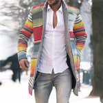 Fashion Business Rainbow Print Coat - yatacity
