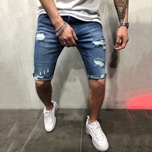 Casual Tattered Hole Slim Denim   Shorts - yatacity