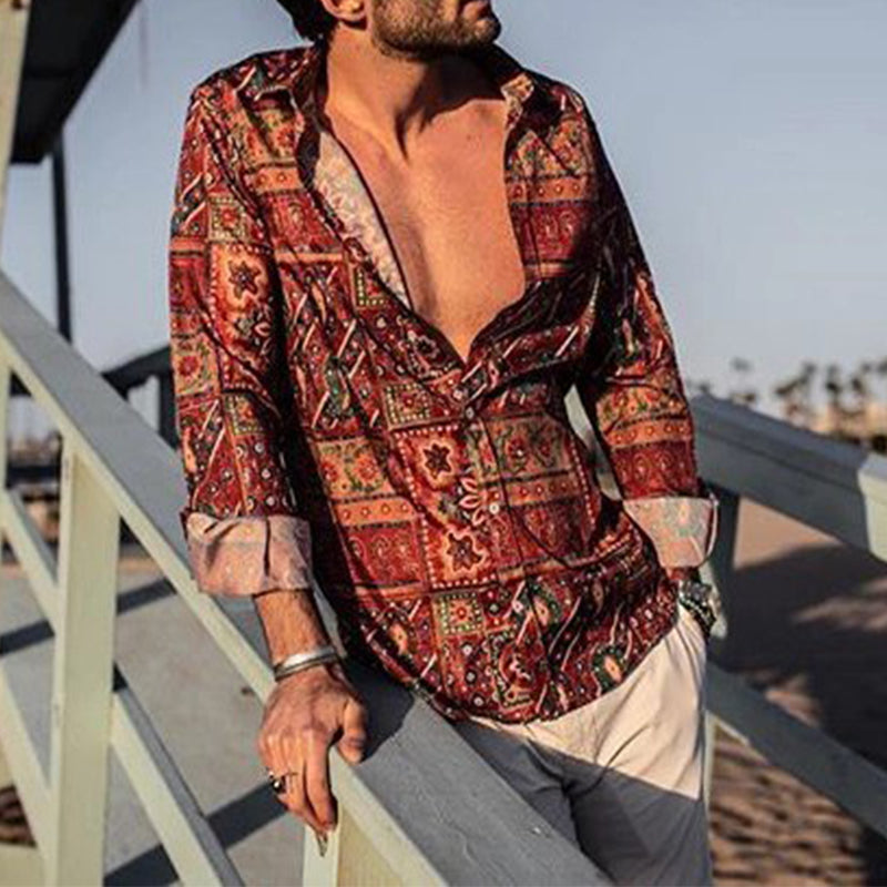 Fashion Men's Vacation Print Long Sleeve Lapel Shirt - yatacity