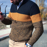 Casual Zipper Color Matching Men's Knit Sweater - yatacity