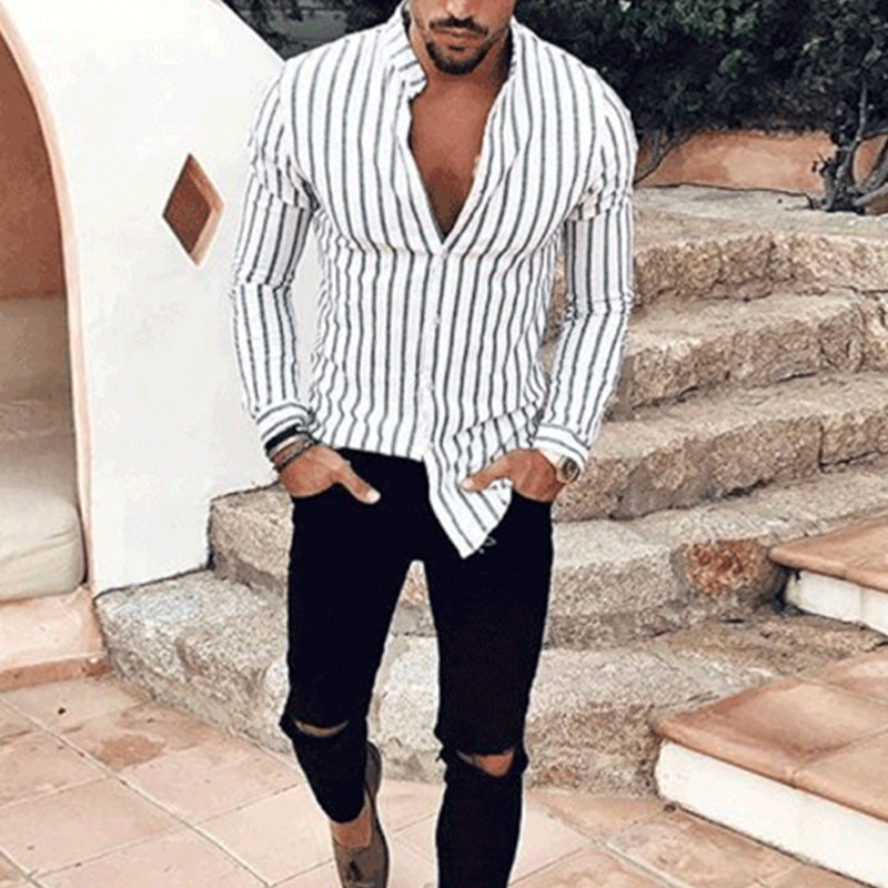 Casual V Collar Slim Long Sleeves Stripe Printed Shirt - yatacity