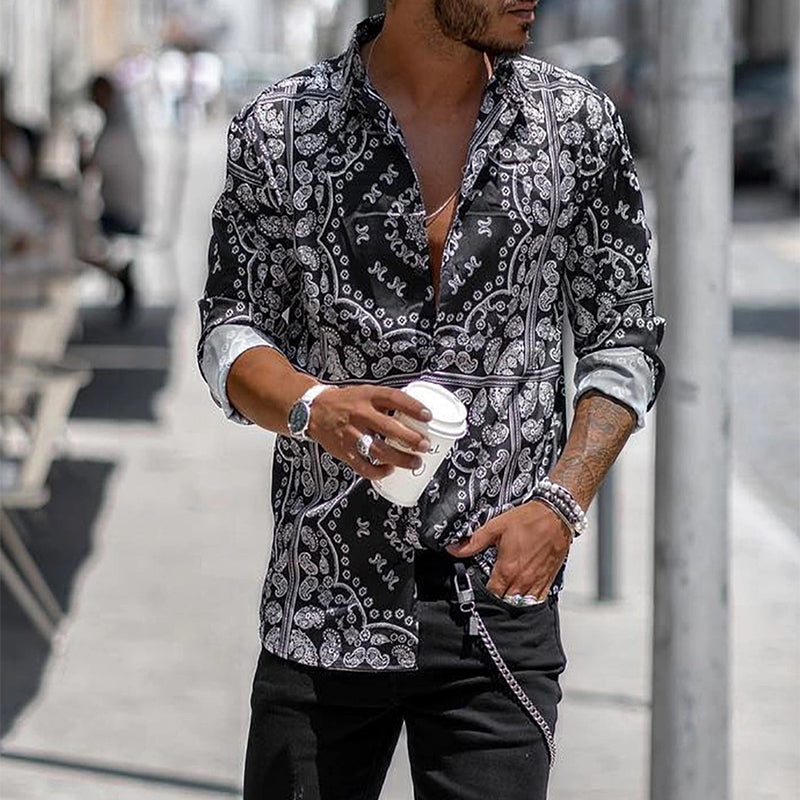 Fashion Printed Stand Collar Long Sleeve Shirts - yatacity