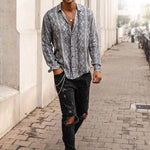 Fashion Men's Printed Casual Long-Sleeved Shirt - yatacity