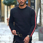 Male fashion solid color ribbon round neck long-sleeved T-shirt - yatacity