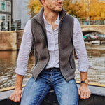 Men's solid color zipper lapel vest - yatacity