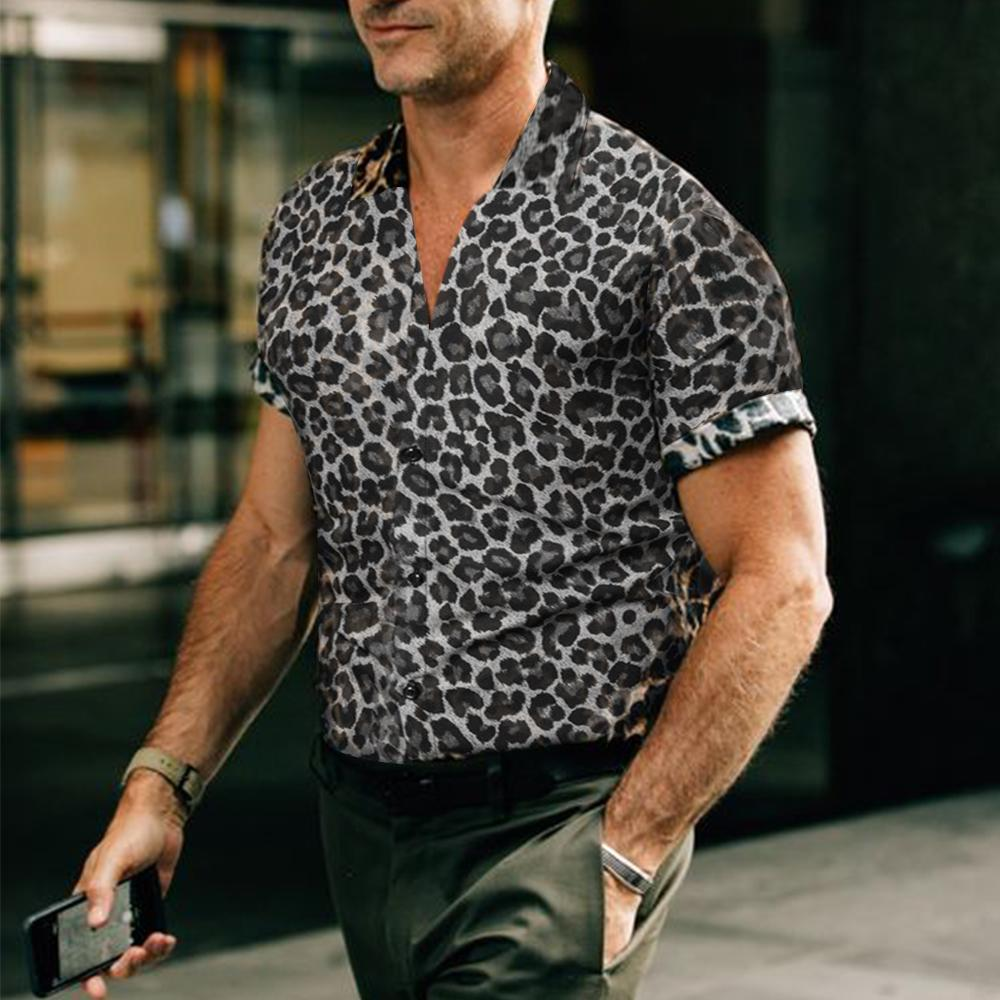 Leopard Print Short-Sleeved Shirt - yatacity