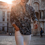 Fashion Turndown Collar Printed Slim Fit Shirt - yatacity
