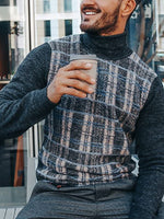 Casual High Neck Patchwork Sweater - yatacity