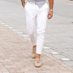 Men's Fashion Casual Straight Trousers White Jeans Stretch Slim Pants - yatacity