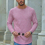 Casual Round Neck Pure Color Long Sleeve T-Shirt - yatacity