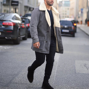 Men's fashion grey lapel and velvet coat - yatacity