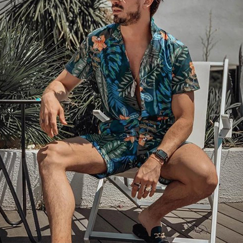 Fashion Men's Printed Shirt Shorts Suits - yatacity