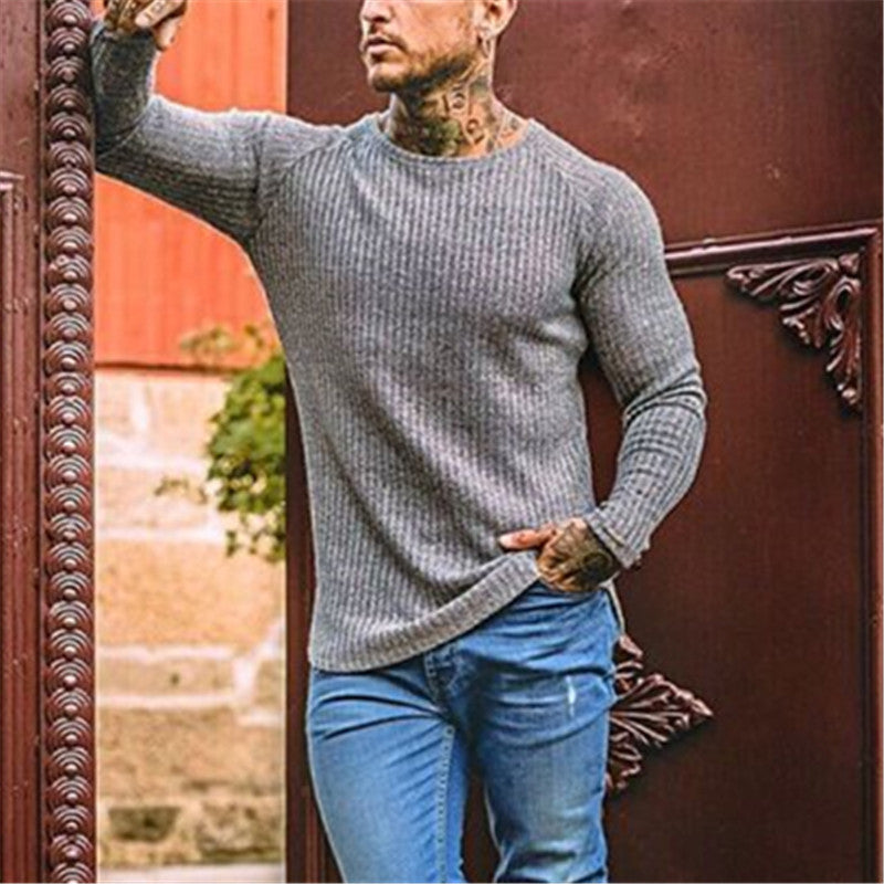 Men's Round Neck Raglan Knit Sweater - yatacity