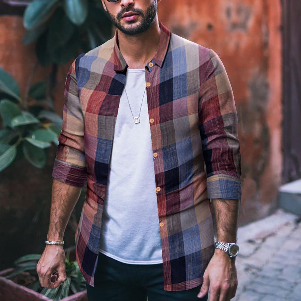 Fashion Mens Casual Long-Sleeved Plaid Shirt - yatacity