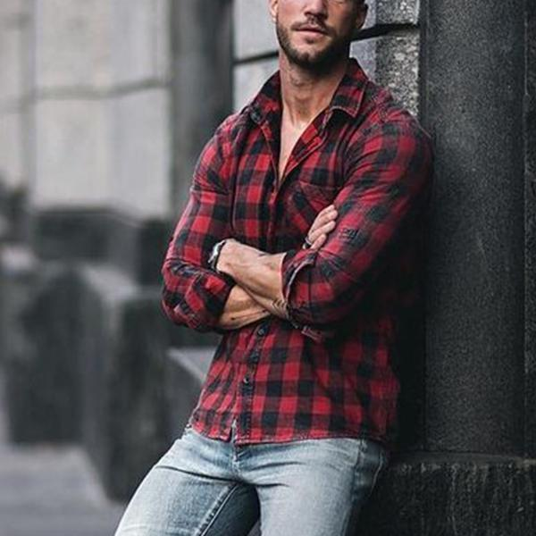 Plaid Long Sleeve Button Up Shirt - yatacity