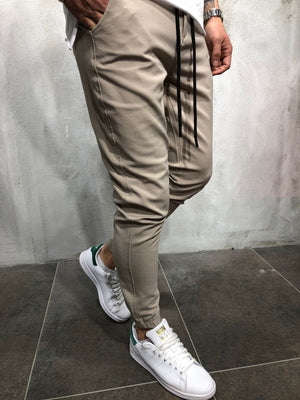 Casual Plain Slim Elastic Waist Pencil Pants - yatacity