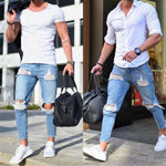 Fashion Pure Color Loose Ripped Jeans Pants - yatacity