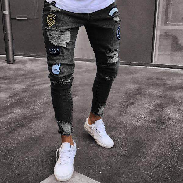Fashion Pure Color Ripped Jeans - yatacity
