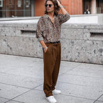 Sexy Leopard Printed Loose Button Shirt - yatacity