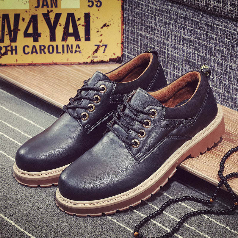 Casual Plain Thicken Sole Plain Leather Shoes - yatacity