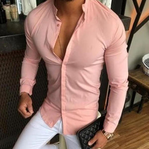 Stand Collar Solid Color Slim   Long-Sleeved Shirt - yatacity