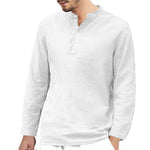 Cotton And Linen Casual Collar   Loose Shirt Long-Sleeved Shirt - yatacity