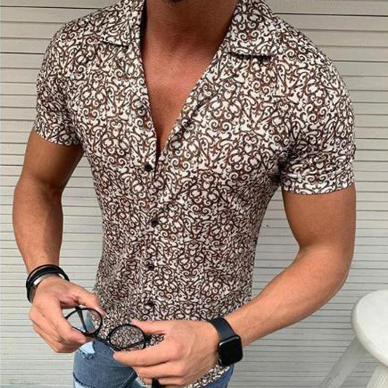 Men's Fashion Floral Short Sleeve Shirt - yatacity