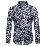 Men's Leopard Print Long Sleeve Shirt - yatacity
