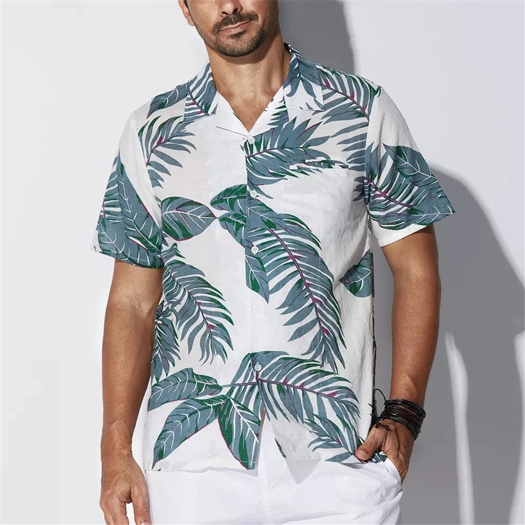 Summer Men's Hawaiian Leaf Print Short Sleeve Casual Shirt - yatacity